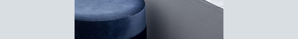 Materialbeschreibung Blauer Pouf Grandma