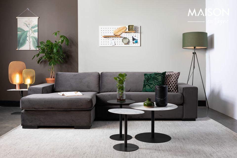 Fiep-Sofa links in grauem Samt