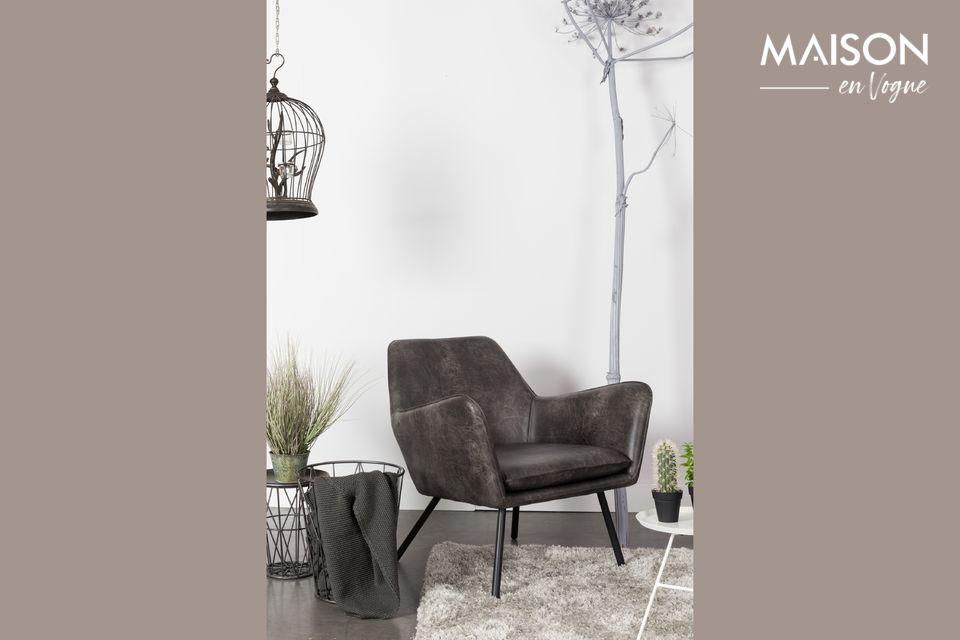 Lounge-Sessel Bon dunkelgrau White Label