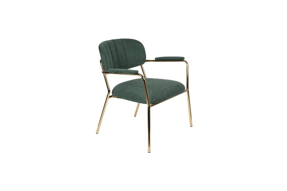 Lounge-Sessel Jolien mit goldenen und dunkelgrünen Armlehnen White Label