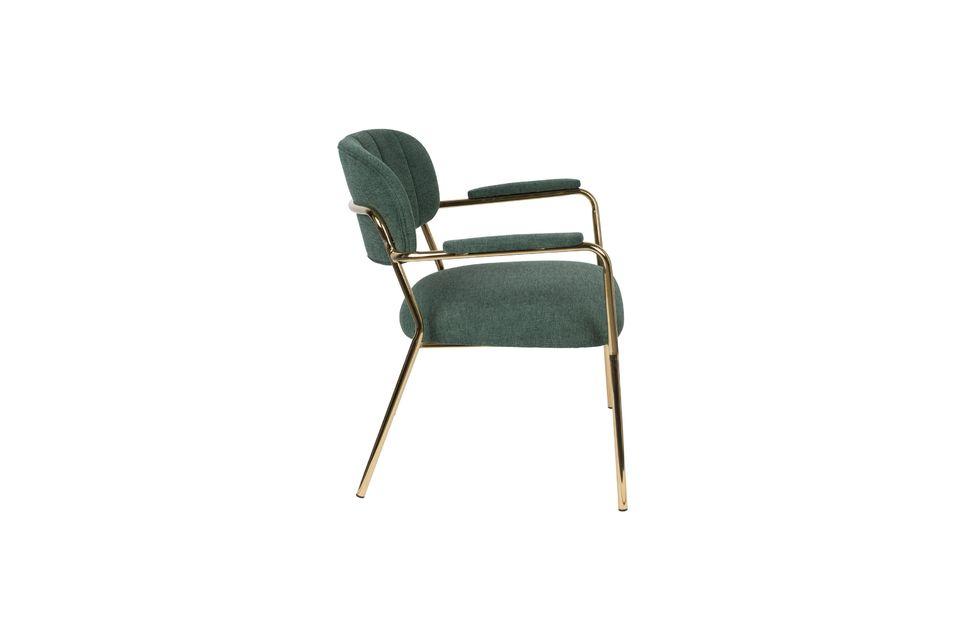 Lounge-Sessel Jolien mit goldenen und dunkelgrünen Armlehnen - 6