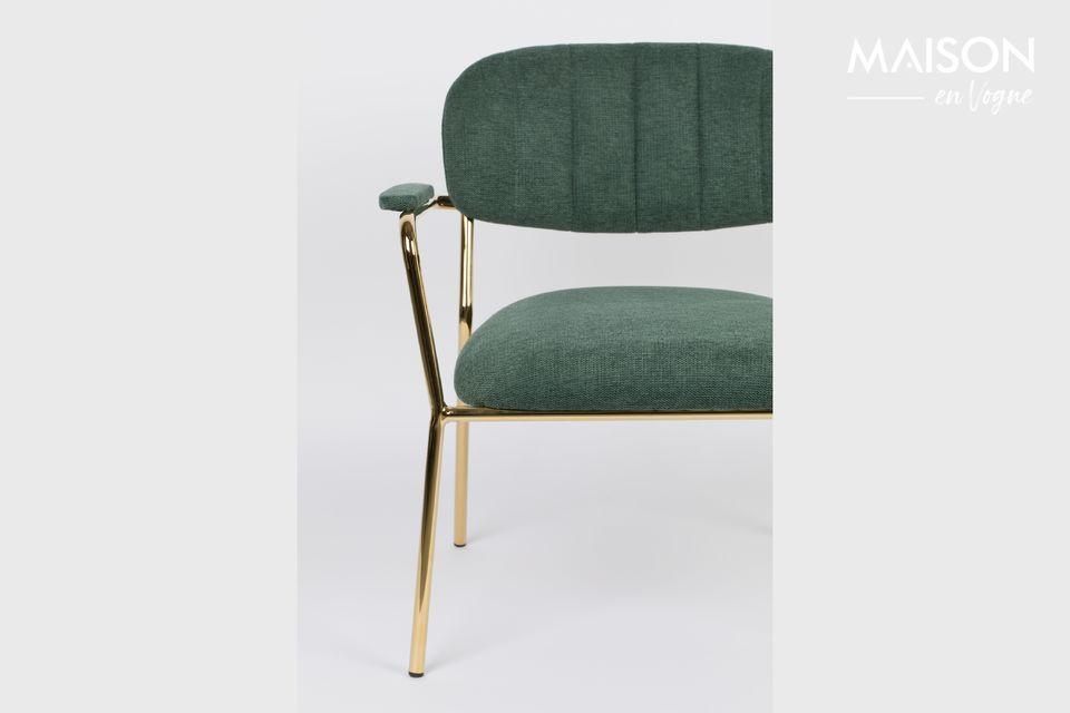 Sessel Jolien Gold und dunkelgrüne Farbe