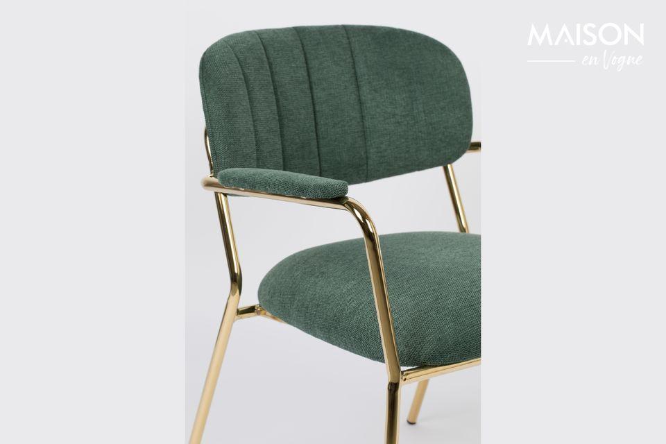 White Label Living bietet einen schönen dunkelgrünen Loungesessel mit schön geformten goldenen