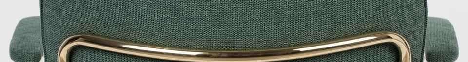 Materialbeschreibung Lounge-Sessel Jolien mit goldenen und dunkelgrünen Armlehnen