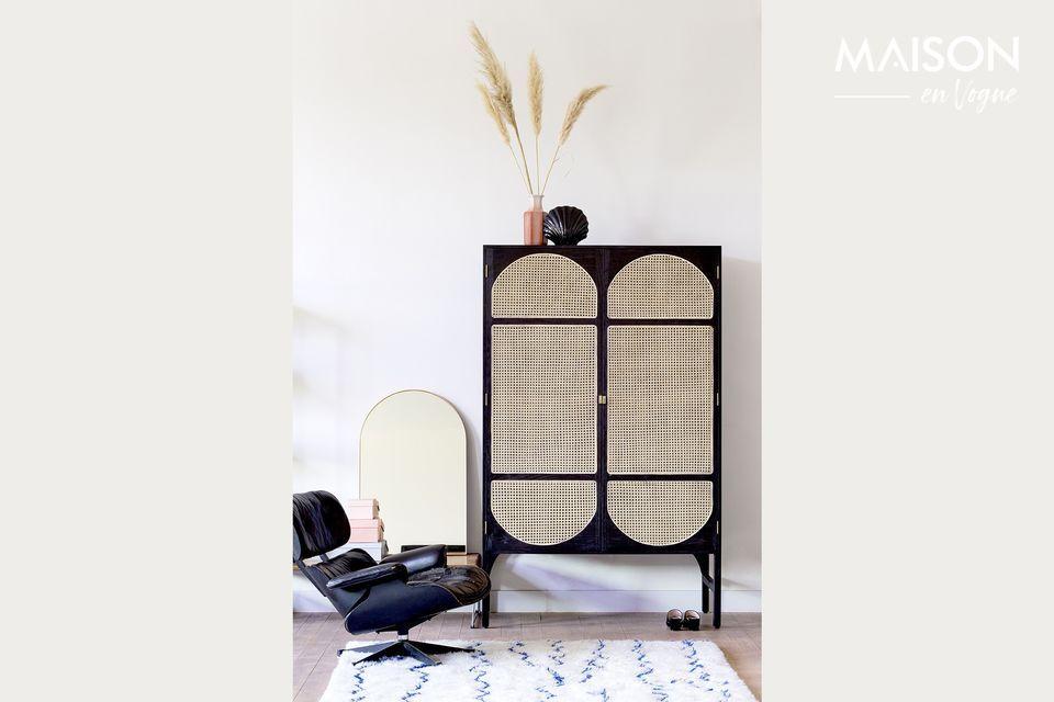 Retro-Garderobe Larchamp in schwarzem Stoff HK Living