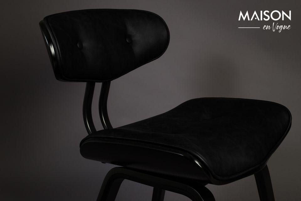 Sitz und Rückenlehne sind aus schwarzem PU-Leder gefertigt