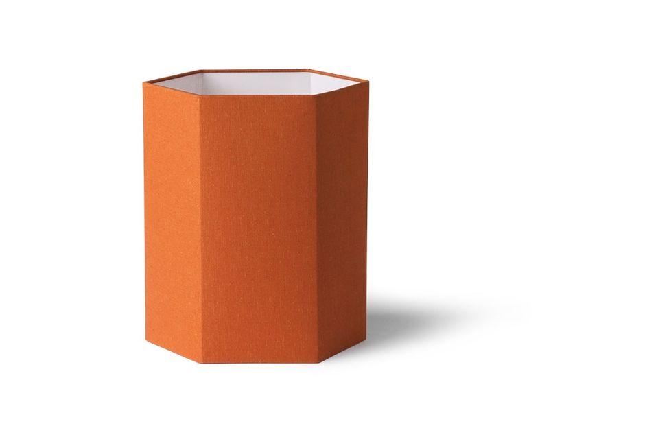 Sechseckiger Maltat-Lampenschirm aus orangefarbener Jute Größe M HK Living