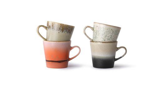 Set mit 4 Americano-Keramikbechern 70er Jahre ohne jede Grenze