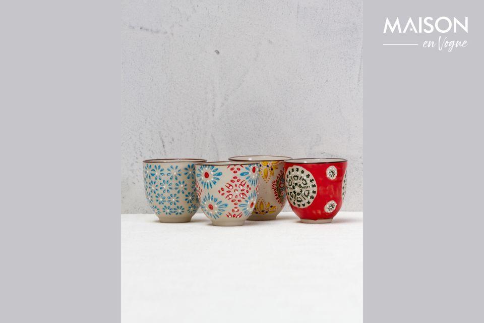 Set mit 4 bohemian Espresso-Tassen Chehoma