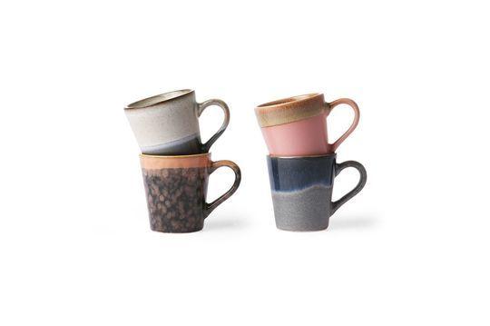 Set mit 4 Keramik-Espressotassen 70er Jahre