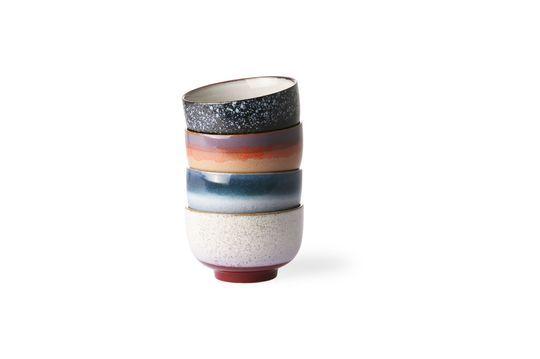 Set mit 4 Keramikschalen 70er Jahre