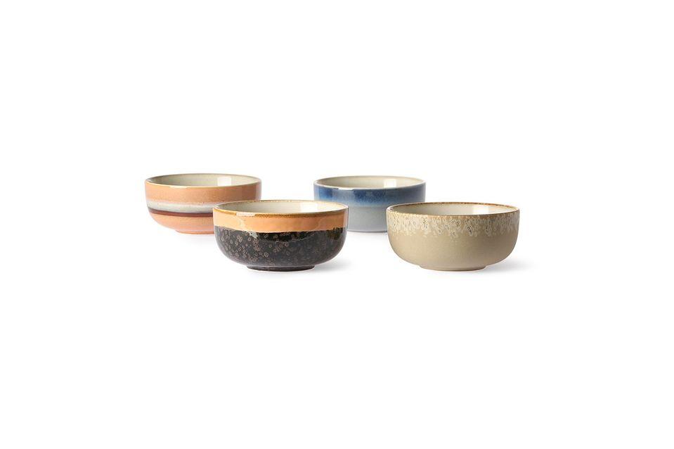 Set mit 4 mittleren Keramikschalen aus den 70er Jahren HK Living
