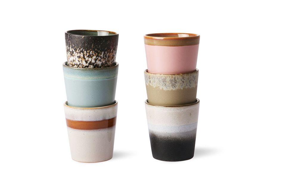 Set mit 6 Keramikbechern aus den 70er Jahren HK Living