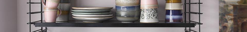 Materialbeschreibung Set mit 6 Keramikbechern aus den 70er Jahren