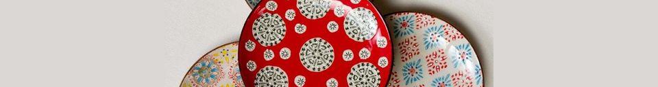 Materialbeschreibung Set von 4 bohemian Keramikplatten
