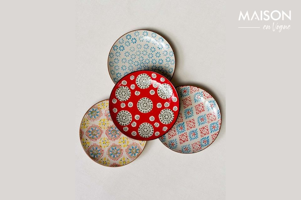 Set von 4 bohemian Keramikplatten