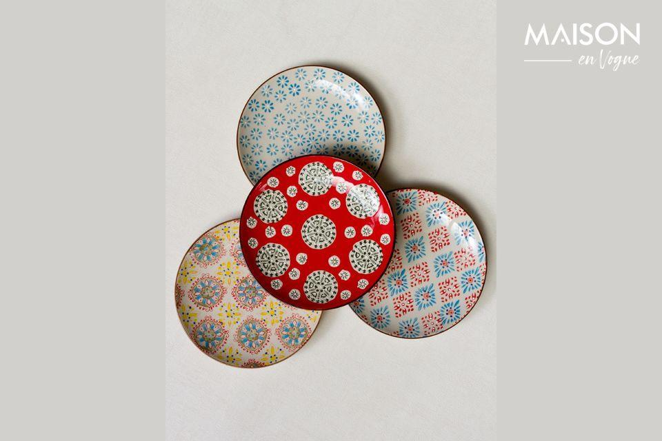 Set von 4 bohemian Keramikplatten Chehoma