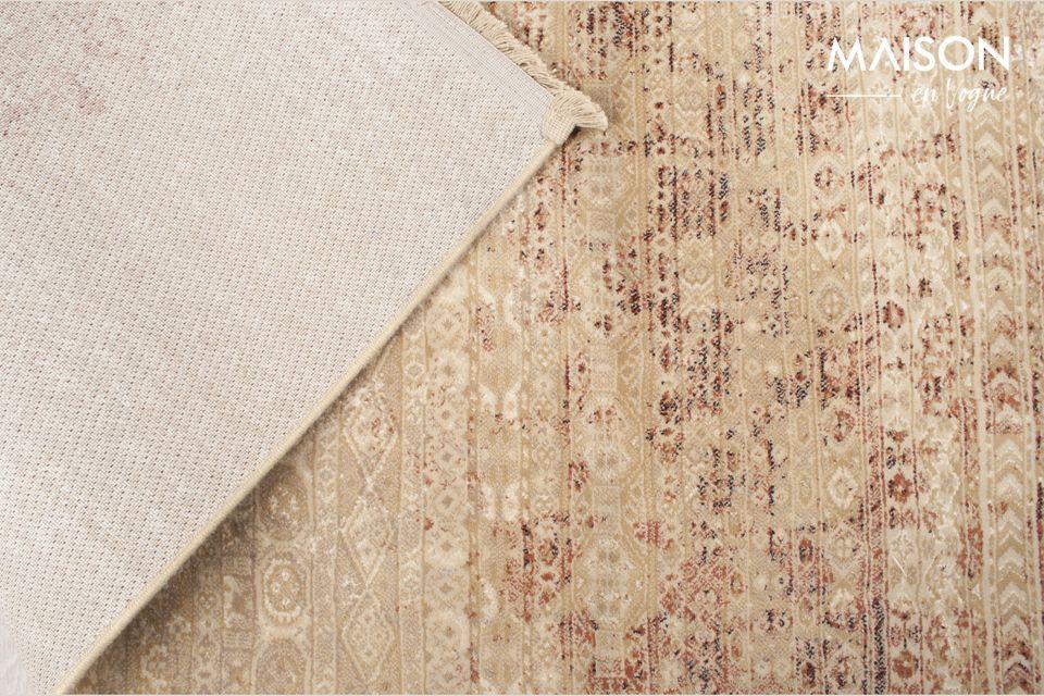 Dieser Teppich aus Samt und Viskose wird mit modernsten Techniken maschinell gewebt
