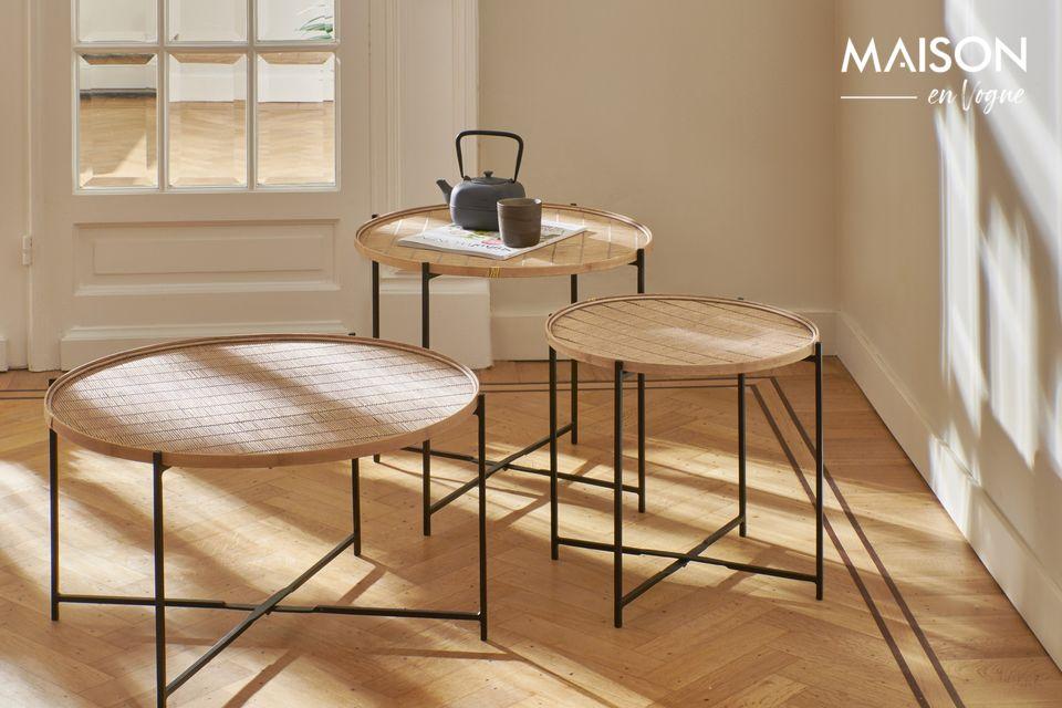 Sein Design bewahrt den natürlichen Charme von Bambus in einem raffinierten und sehr authentischen