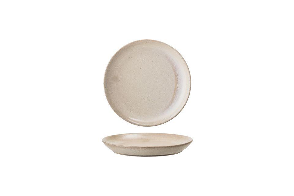 Dieser schöne Akelei-Teller ist aus Steingut handgefertigt