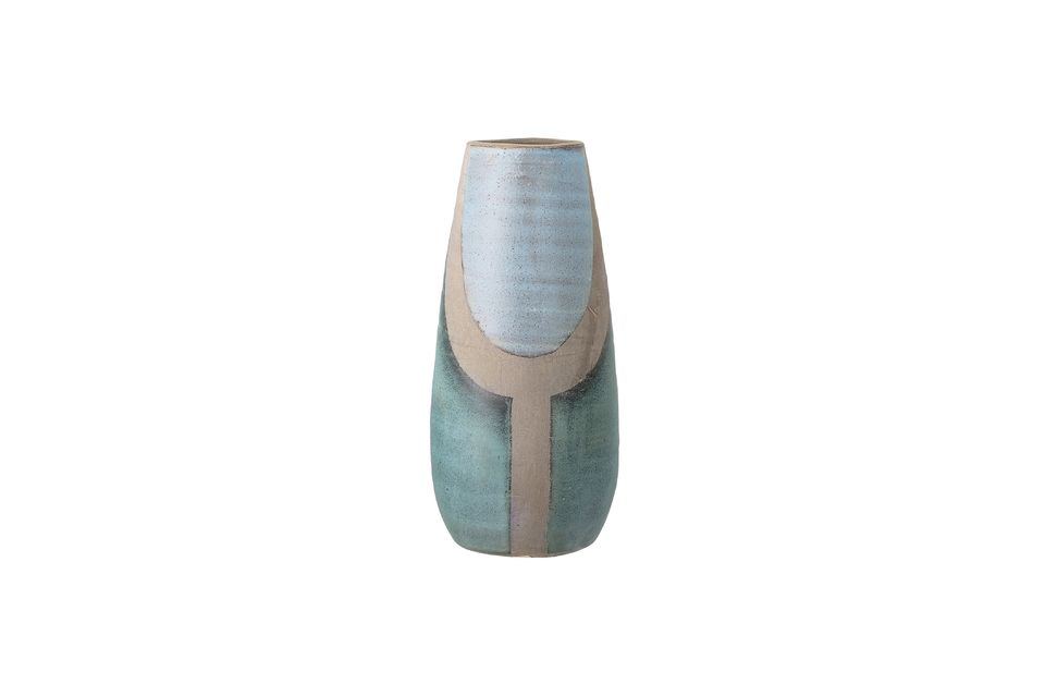 Diese schöne Terrakotta-Vase in Blautönen