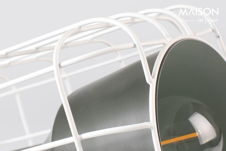 Schöne schwarz-weiße Tischlampe, Imitation eines Miniprojektors.