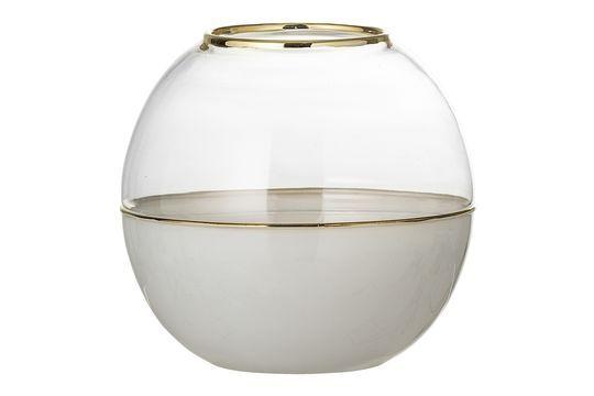 Vase Dôme aus weißem Glas